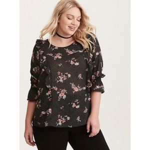 TORRID Black Floral Polka Dot Long Sleeve Blouse